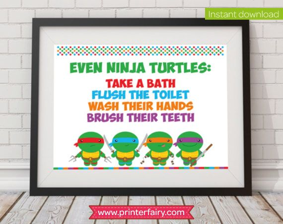 "Ninja turtles bathroom rules wall art, tmnt poster, 8"" x 10"" by PrinterFairy on Etsy https://www.etsy.com/listing/241288307/ninja-turtles-bathroom-rules-wall-art"