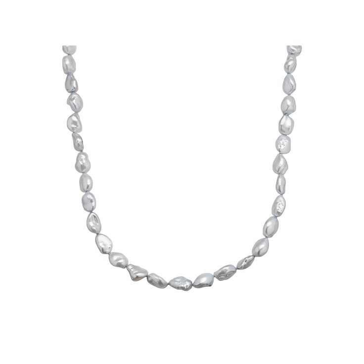 "Freshwater by Honora Sterling Silver Dyed Freshwater Cultured Pearl Necklace, Women's, Size: 24"", Grey"
