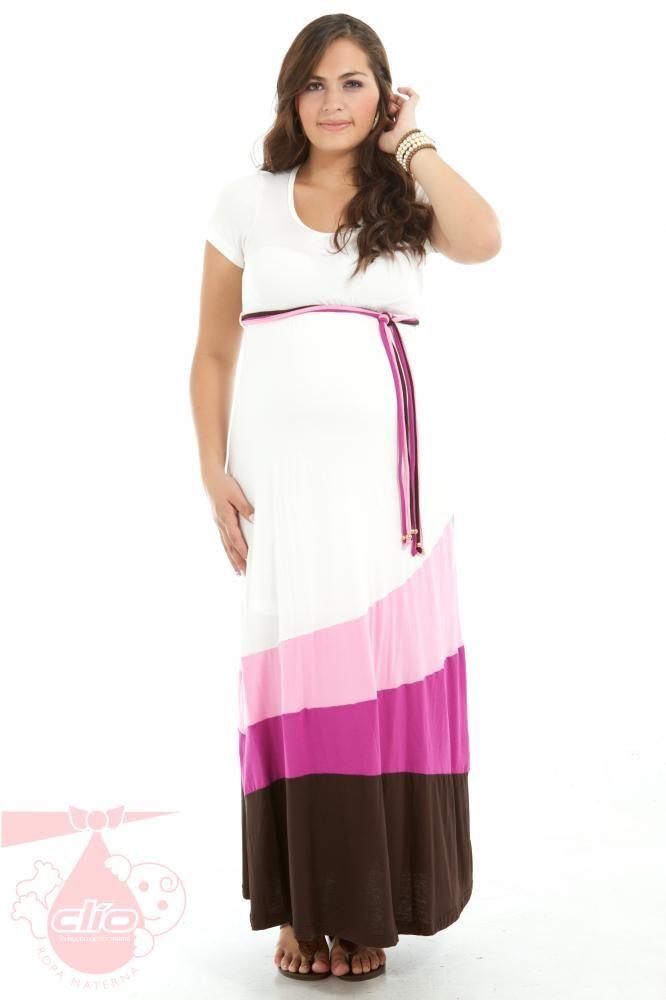 #Vestido #maternal con cinta de colores. Prenda fresca y cómoda para tu embarazo. Clío #Ropa #materna trae diseños #modernos en prendas para #embarazadas