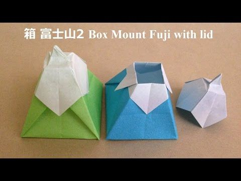 折り紙の箱 富士山2 簡単な折り方(niceno1)Origami box Mount Fuji with lid - YouTube