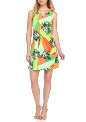 Kaari Blue™ Women's Sleeveless Swing Dress - Lime Palms - Xl