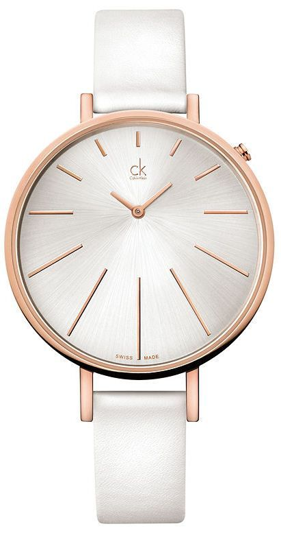 $215 Calvin Klein ck Equal White Leather Ladies Watch ...
