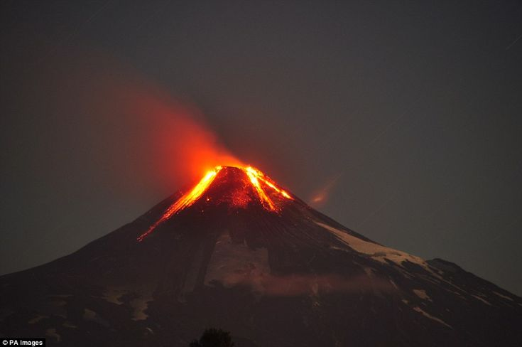 The eruption was visible for miles around, with streams of lava cascading down the side of the volcano