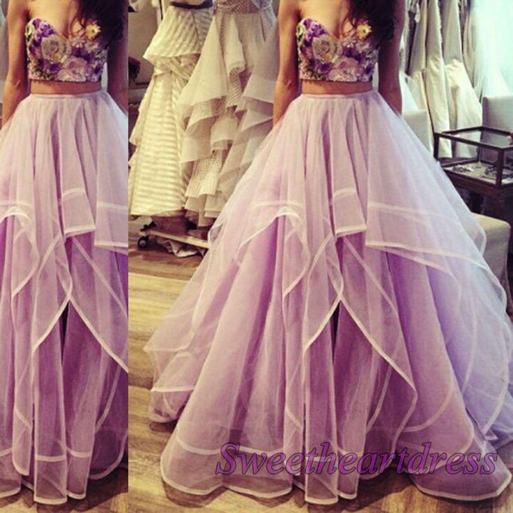 Amazing lavender tulle strapless two pieces prom dress, strapless ball dress 2016, cute party dress for teens, sweetheart neckline long evening dress -> http://sweetheartdress.storenvy.com/products/13944471-amazing-lavender-strapless-two-pieces-sweetheart-a-line-prom-dress
