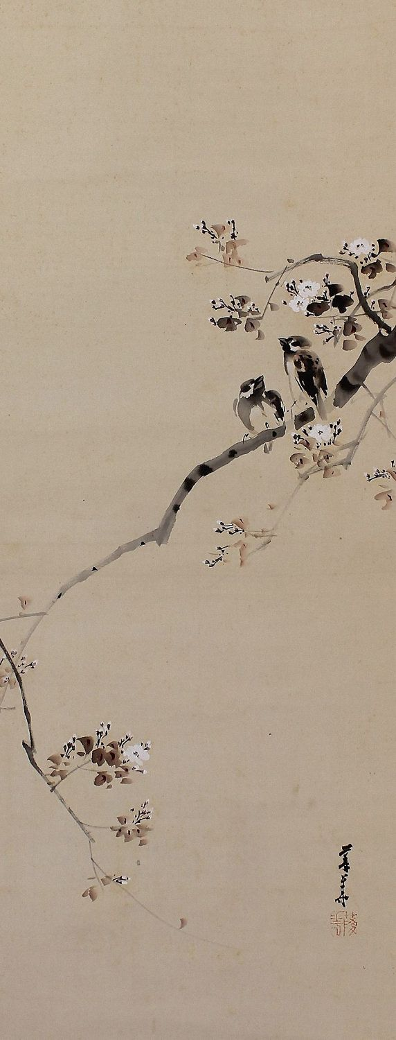 Sparrow in Cherry Blossom. Japanese hanging scroll painting.