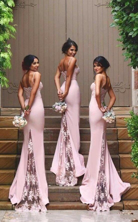 755655e37f Spaghetti Straps Lace Bridesmaid Dress