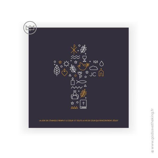 """Carte """"la croix de Jésus et ses symboles chrétiens"""". A vous de tous les chercher ! A retrouver sur www.godsavetheking.fr #godsavetheking #créationschrétiennes #croixdejésus #symboleschrétiens #idéecadeauprofessiondefoi #cartepostalechrétienne"""