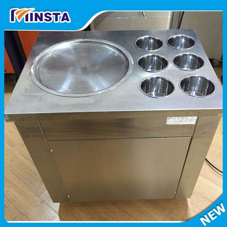 Fried Ice Cream Roll Yogurt Making Machine With 2 Pan 5 Bucket 110 V US Plug