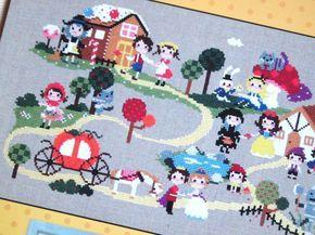Personajes de cuentos de hadas cross stitch patrones por sewsewnsew