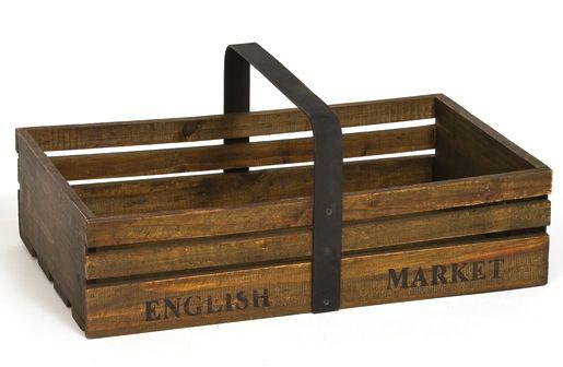 """English Market Wood Caddy, decor steals, wood caddy Dimensions: 16.5"""" Wide x 10"""" Deep x 6.25"""" High"""