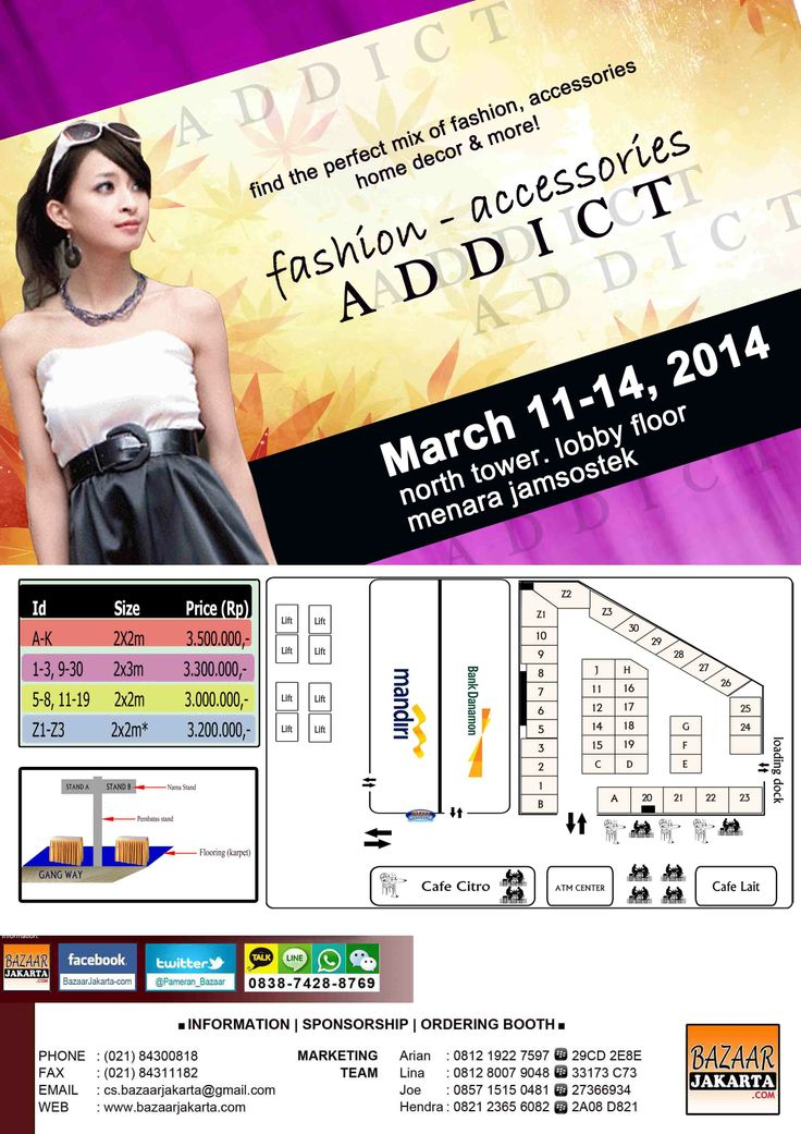 """Fashion-Accessories ADDICT"" @ MENARA JAMSOSTEK 11-14 Maret'14: Booking Booth Info: 081219227597 - 2A7BBC3D"