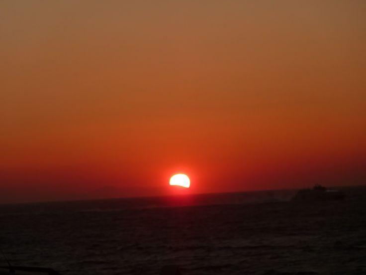 coucher de soleil à Mykonos