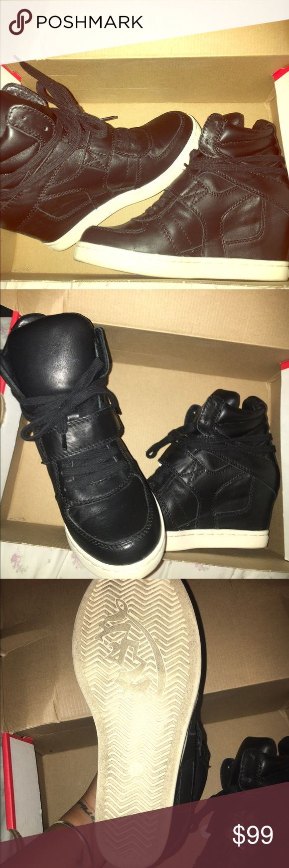 Ash sneaker wedges Black leather, very lightly worn sneaker wedges with laces and a velcro strap. Fashionable, urban in very good condition. No bad scratches or marks. Worn a few times. Size 38. Brand is Ash. Ash Shoes Sneakers