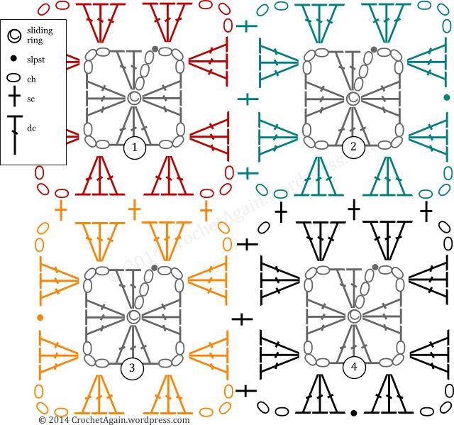 Crochet Granny and Join - Chart ❥ 4U // hf