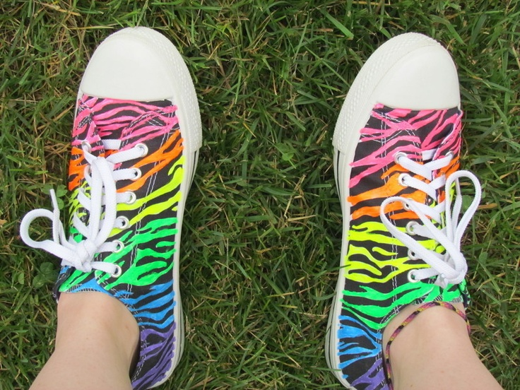DIY Rainbow Zebra Shoes - Made with puffy paint!