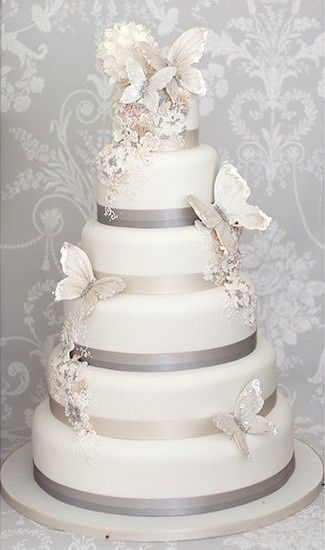 Special silver butterfly wedding cake.