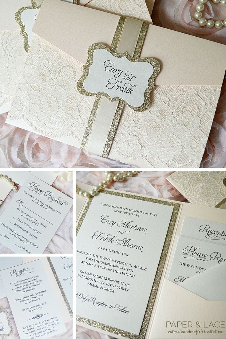 champagne blush wedding invitations%0A Blush Wedding Invitation with Ivory Lace and Gold Glitter  Trifold Pocket  Invitation  Gold Glitter
