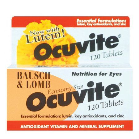 Bausch & Lomb Ocuvite Vitamin & Mineral Supplement Tablets with Lutein, 120-Count Bottles (Pack of 2), Multicolor