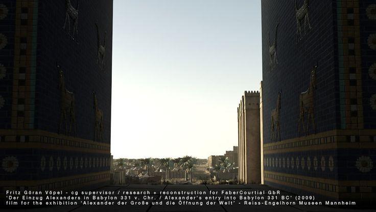3d Rekonstruktion von Babylon - Relief mit Stieren und Schlangendrachen am Ischtar-Tor / image by FaberCourtial, 2009 / © Reiss-Engelhorn Museen Mannheim