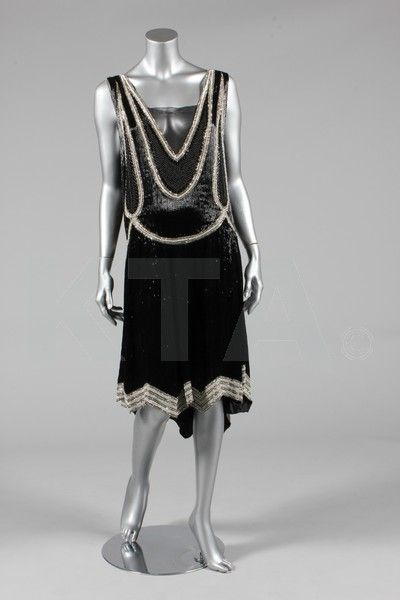Evening dress, ca 1928  Bust is 92-97cm/36-38in, about a size 12-16 UK/8-12 US.  Click to go to the absentee bidding page.  This Kerry Taylor auction will end October 16th at 2:00 PM GMT (9:00 AM EST).  You will need to register to bid ahead of time.
