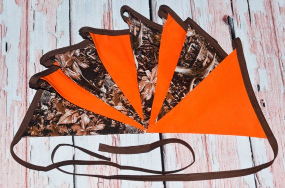 This listing is for a very adorable hunting themed Banner.There are 8 seperate flags and they measure up to approximately 9 feet from one end to