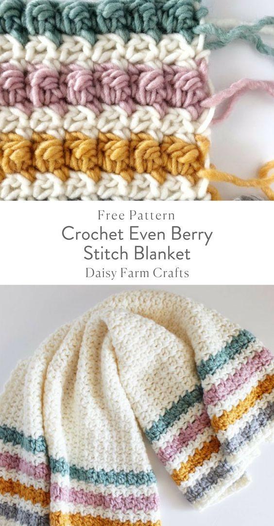 Crochê Mesmo Berry Stitch Blanket - Padrão Livre