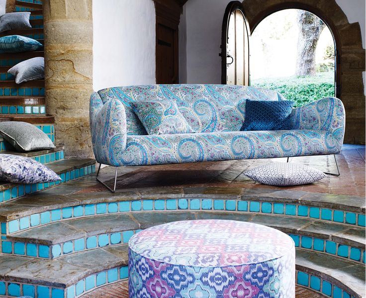 Colourful patterned @matthewwilliamson fabric for @osbornelittle - available now from Rodgers of York #fabric #sofa