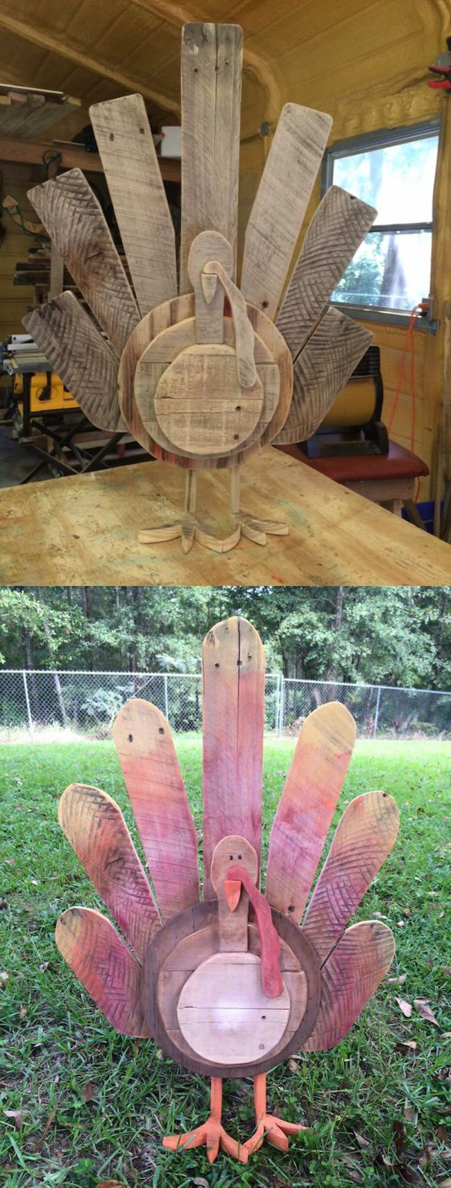Reclaimed wood pallets turned into DIY Thanksgiving turkey decor!