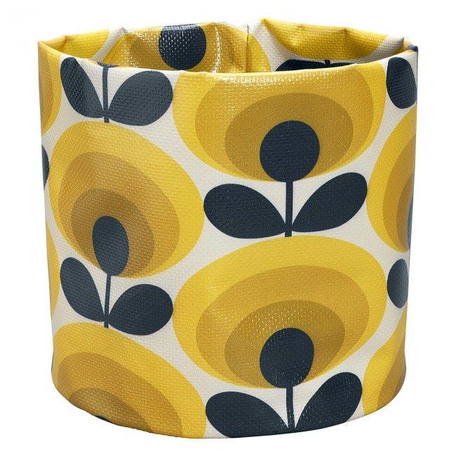 Orla Kiely 70's Flower Oval Small Fabric Plant Bag, Yellow