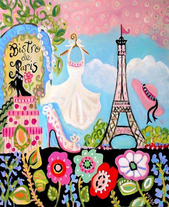 Eiffel Tower Art Print Poster  Bistro Paris by karenfieldsgallery, $24.00
