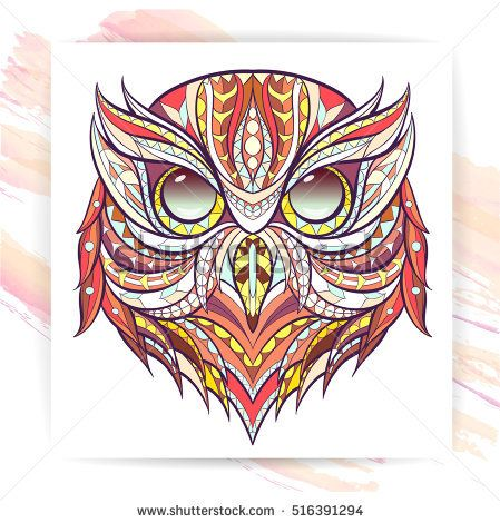 Patterned head of the owl on the grunge background. Poster with ornate owl. Tattoo design. It may be used for design of a t-shirt, bag, postcard, a poster and so on.