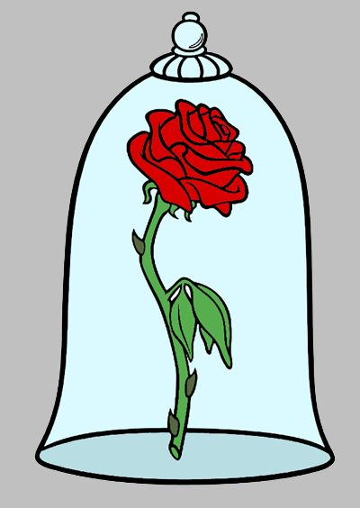 beauty and the beast rose silhouette - Belle