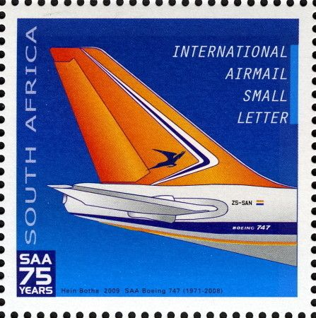 Stamp: Boeing 747-244 Super B (South Africa) (75th Anniversary of South African…