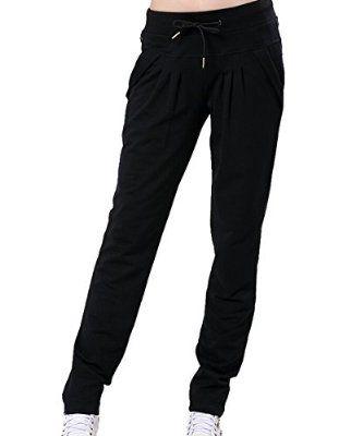 Femmes en Coton Baggy Pantalon Sarouel , Pantalons de jogging, Pantalon de Sports, Pantalon de Danse, Pantalons de Yoga (Noir, XXL)