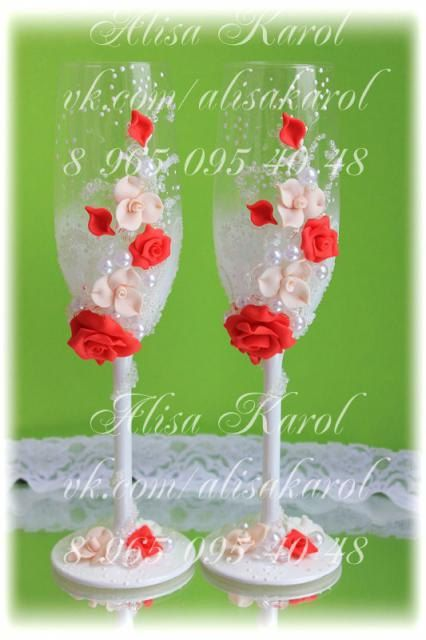 Wedding champagne flutes,  wedding glasses with red and ivory hand made roses