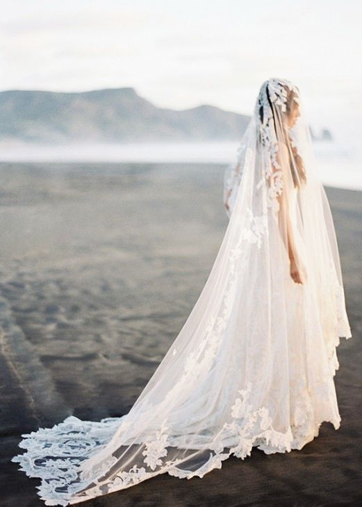 Beautiful wedding dress with long lace veil by erich for Long veils for wedding dresses