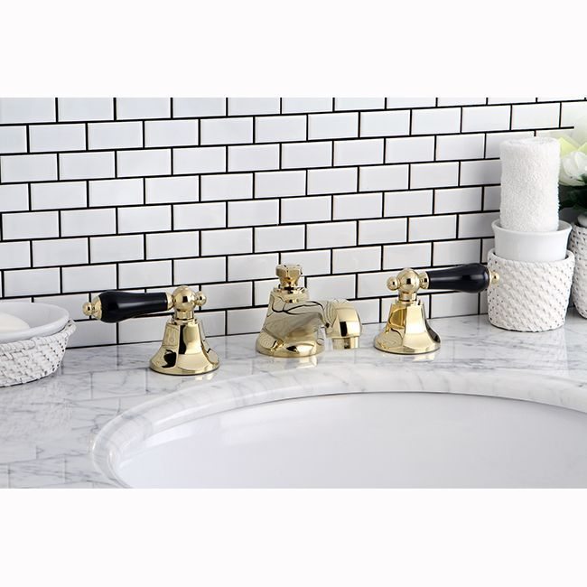 explore a darker side of decor with the iconic black porcelain handles this faucet creates an elegant atmosphere in any bathroom combining its lustrous