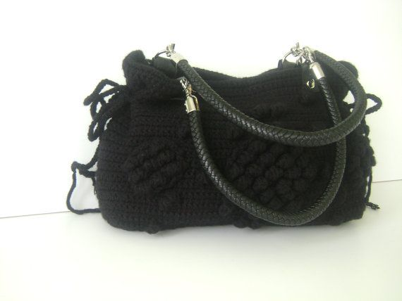 Handmade Black Knit Bag, Celebrity Style,Crochet winter bag- shoulder bag- crochet bag- hand made