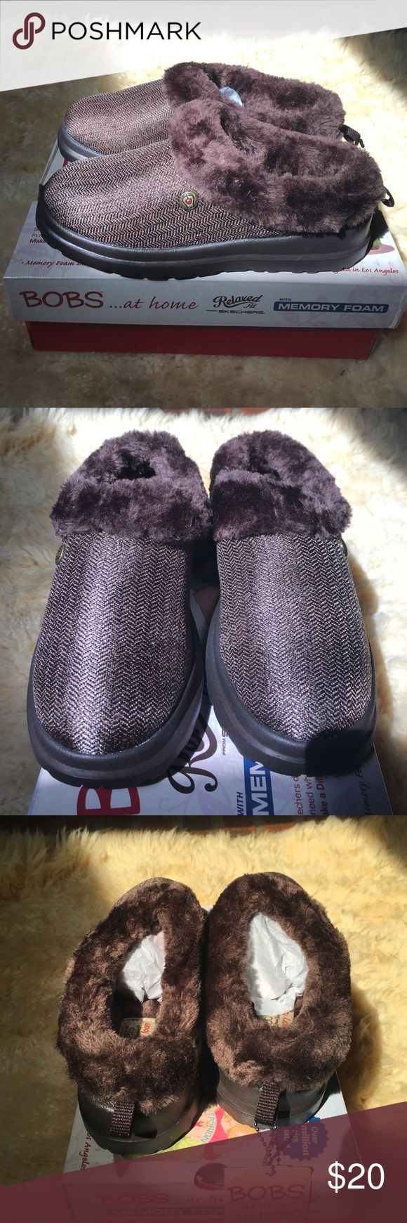Brown Bobs with memory foam Brown Bobs . Bobs at home with memory foam .  Textile/manmade/faux fur Bobs Shoes Slippers
