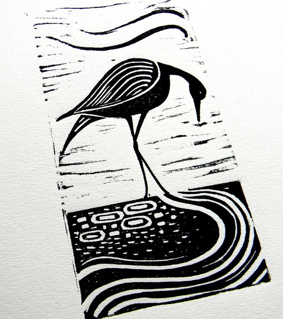 Wading Bird Lino Print by Mangle Prints, via Flickr
