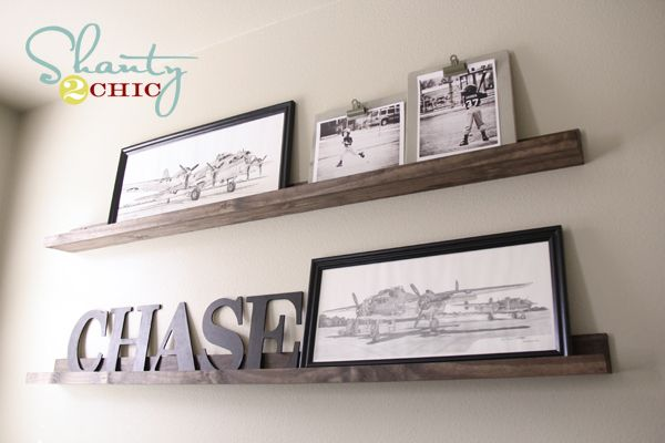 $20 DIY Shelves: Picture Ledge, Idea, Diy'S, Ledge Shelves, Diy Shelves, Display Shelves, Ledge Shelf, Boy Room