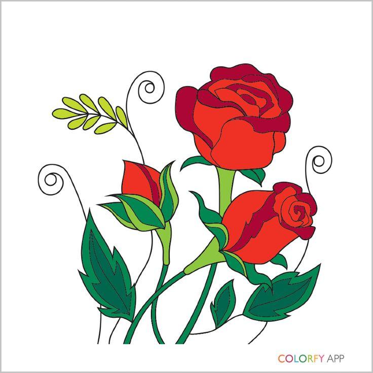 Dessin Fleur Les Roses Sont Rouges Jaunes Pourpres Coloriage Pour Adulte Applications De Livres A Colorier Idees Originales