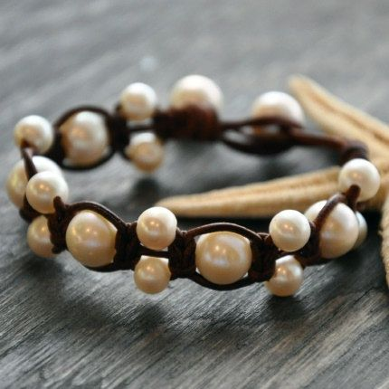 Freshwater Pearls Cut and Rolled by Hand Leather ...this piece looks beautiful around the wrist and is a great piece to wear with blue jeans and
