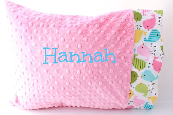Personalized Minky Toddler Pillow Case Spings by twigsandtweets