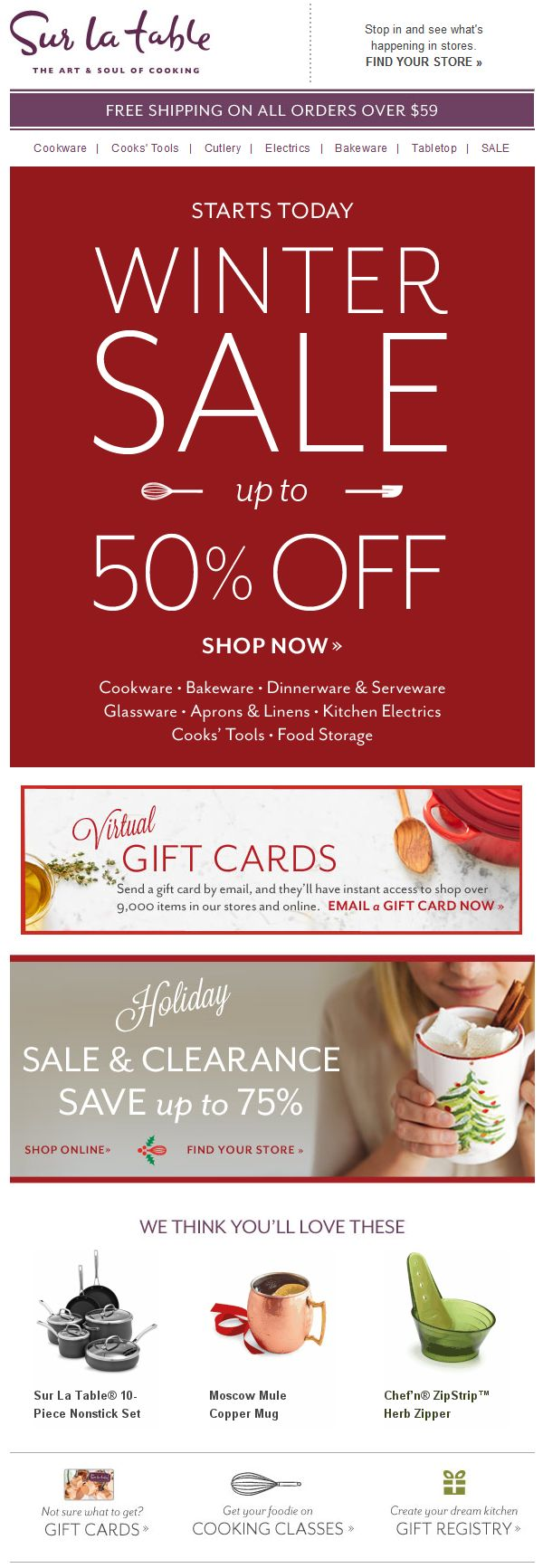 Sur la Table - winter sale up to 50% off; virtual gift cards