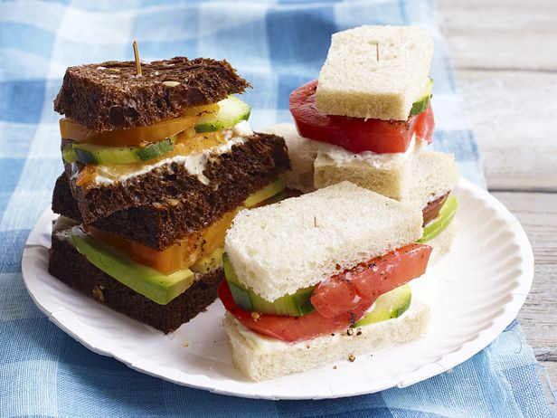 Tomato Tea Sandwiches from FoodNetwork.com: Food Network, Tomatoes Teas, Teas Time, Teas Sandwiches, Tea Sandwiches, Teas Food, Sandwiches Recipe, Tomatoes Sandwiches, Teas Parties