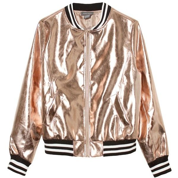 Sans Souci Rose gold metallic vegan leather bomber jacket (74 CAD) ❤ liked on Polyvore featuring outerwear, jackets, tops, coats & jackets, rose gold, brown jacket, zipper jacket, zip jacket, vegan leather jacket and brown faux leather jacket
