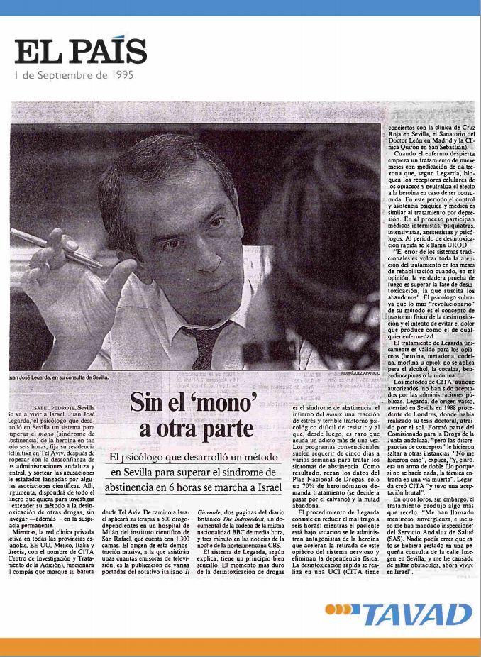 """Diario El País se hace eco del tratamiento de #desintoxicacion que hace #TAVAD. """"El psicólogo que desarrrolló un método en #Sevilla para superar el síndrome de abstinencia se marcha a #Israel"""" #adicciones #drogas"""