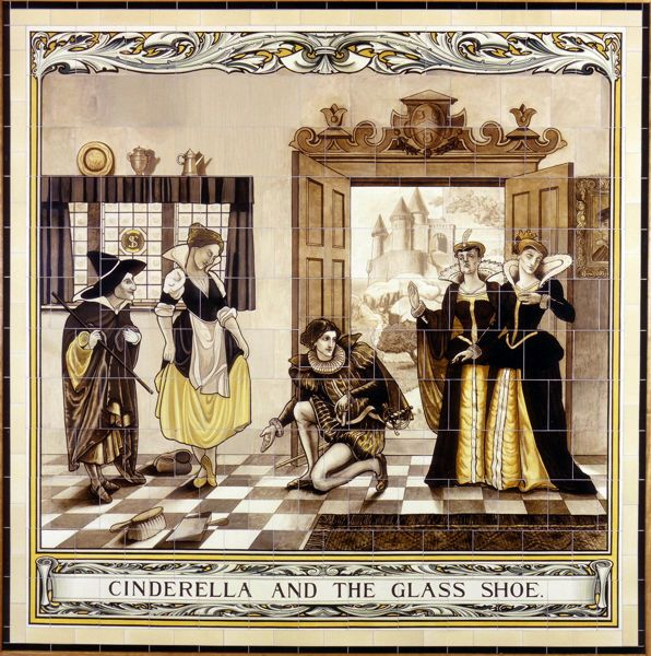The tile panels depicting nursery rhymes were originally located in the John Nixon Ward of Cardiff Royal Infirmary (circa 1912). Cinderella was designed by Philip H Newman and made by W. B. Simpson & Sons of The Strand, London. The hospital originally had 36 tile panels, which included a series depicting Welsh History.
