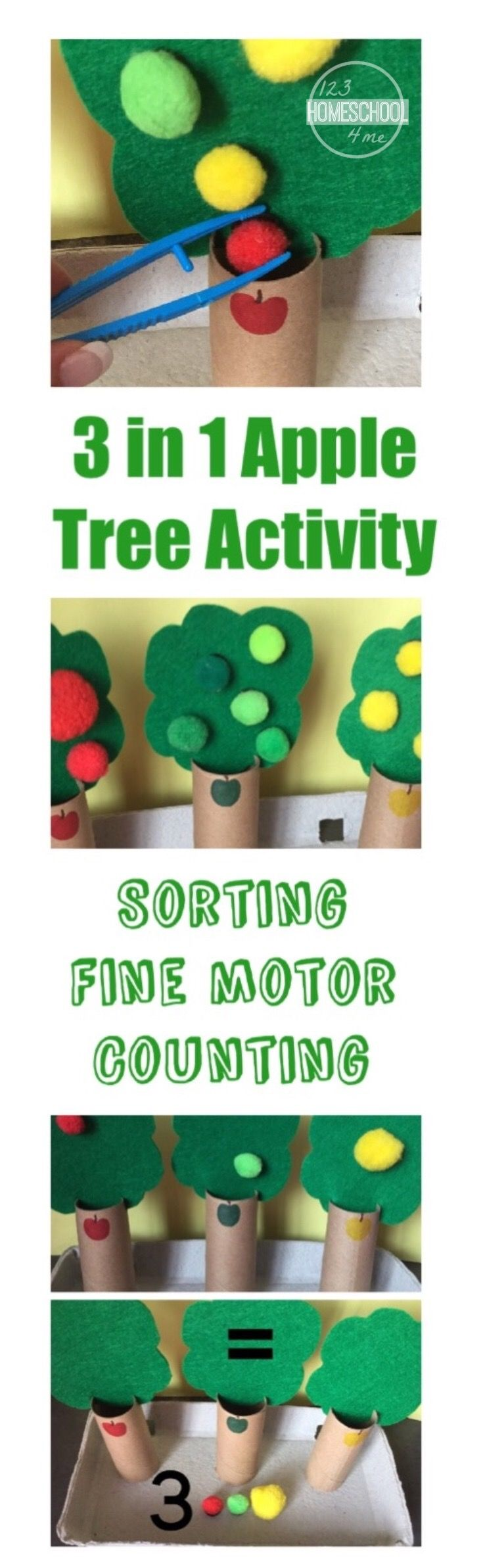 3-in-1 Apple Tree Activity for preschool, kindergarten - This is such a fun, hands on learning idea! SO CLEVER with several uses.